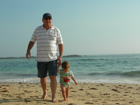 Milan and I on Sardinia beach