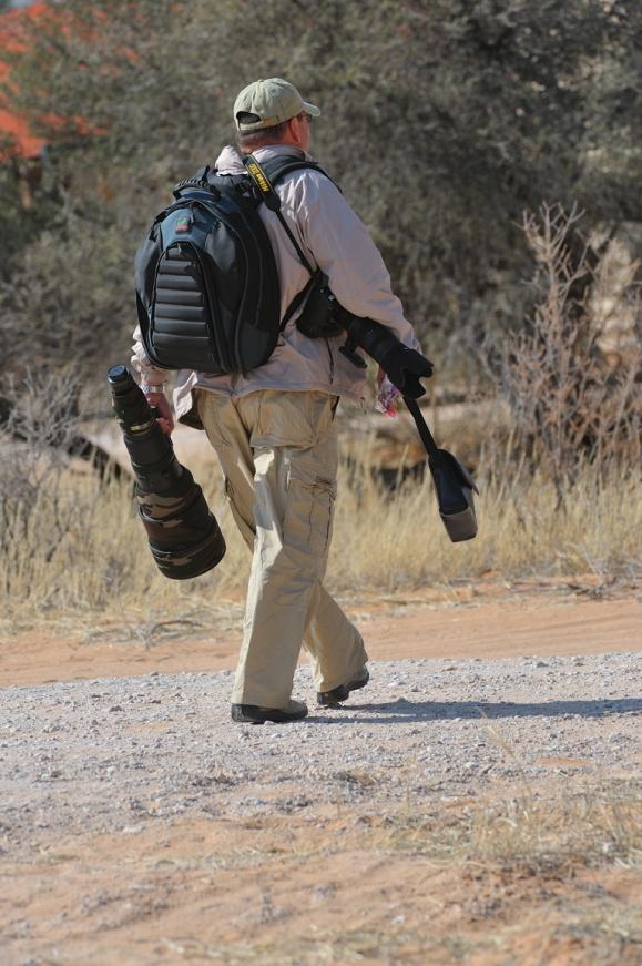 Walk to camp after shooting Nature in Africa's Khalahari